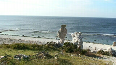 Eroded limestone stacks on the coast on the island Fårö in Sweden Stock Footage