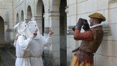 False ku klux klan members are joking for photography - stock footage