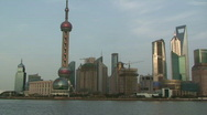 Stock Video Footage of Large ship sails through downtown Shanghai part 1