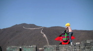 Kite on Great Wall  Stock Footage