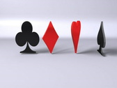 Stock Video Footage of 3D Rotating card symbols, Clubs, Diamonds, Hearts, Spades, loopable