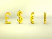 Stock Video Footage of 3D Rotating gold currency symbols, Pound, Dollar, Euro, Yen, loopable