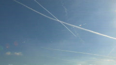 Airplane vapor trail 2 Stock Footage