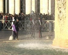 Jan 4 2009. Fountain at Saint Petro Square in Vatican Stock Footage