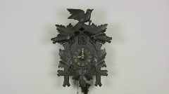 Cuckoo clock beating 9 o'clock Stock Footage