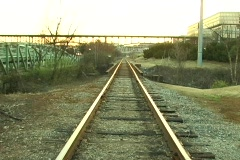 Railroad zoom at Knoxville waterfront - stock footage