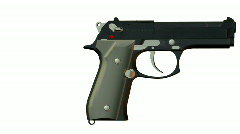 Rotated pistol isolated on a white background Stock Footage
