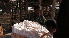 Myanmar: Buying Rice Cakes at the market Stock Footage