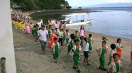 Stock Video Footage of School parade on sabang beach in the Philippines