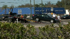 Totalled Car On Flatbed Tow Truck 02 Stock Footage