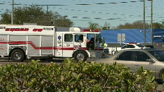 White Fire Truck & Police Car Stock Footage