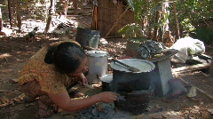 Karen Refugees: Woman cooks over open fire - stock footage
