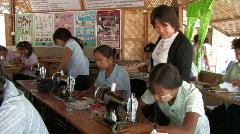 Myanmar: Women learn how to sew Stock Footage