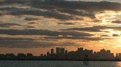 Boston skyline harbor sunset3 Stock Footage