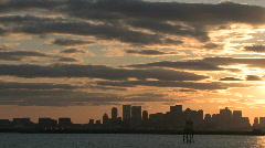 Boston skyline harbor sunset3 - stock footage