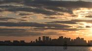 Boston skyline harbor sunset3 Stock Footage