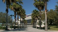 Walkway leading to Amway Arena in Orlando Stock Footage
