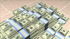Stacks of money on Spanish tile Stock Footage