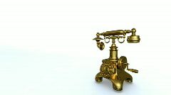 Gold antiquarian phone, entering call. Alpha included. HD 1080 Stock Footage