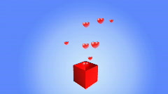 Box with hearts. HD 1080 Stock Footage
