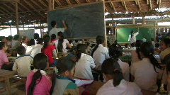 Karen Refugees: Students in class in a bamboo school Stock Footage