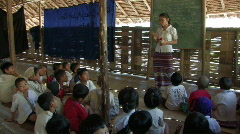 Karen Refugees: Teacher andstudents in a Bamboo school Stock Footage