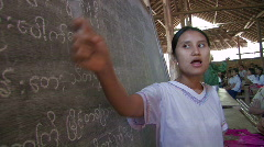 Karen Refugees: Teacher and students in a bamboo school Stock Footage