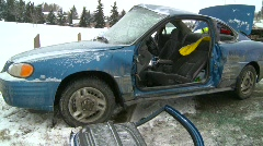 Auto accident, 3-shot, severe, winter, #3 Stock Footage