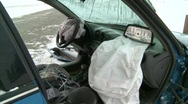 Auto accident car door torn off, air bags deployed, #1 Stock Footage