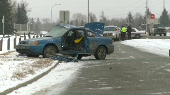 auto accident, 3-shot, severe, winter, #1 - stock footage
