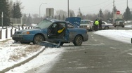 Auto accident, 3-shot, severe, winter, #1 Stock Footage