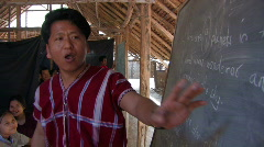 Karen Refugees: Teaching in a bamboo school Stock Footage