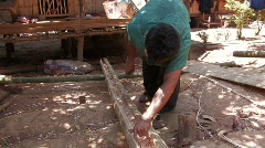 Stock Video Footage of Karen Refugees: Working the Bamboo