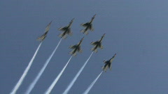 F16 Jet Fighter Fly Over - Thunderbirds Are Go! Stock Footage