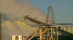 Industry, sulfur pile, conveyor belt, steam, #1 Stock Footage