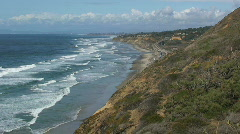 San Diego Ocean Coastline with Rock Cliffs Stock Footage