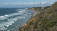 Stock Video Footage of San Diego Ocean Coastline with Rock Cliffs