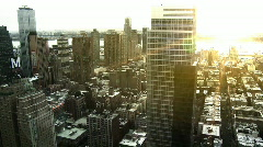 NYC Skyline, Pan w/ Sunset Flare Stock Footage