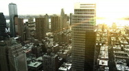 Stock Video Footage of NYC Skyline, Pan w/ Sunset Flare