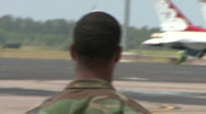 Stock Video Footage of Military Personnel Walks On An Airbase