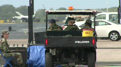 Military Personnel In Golf Cart Stock Footage