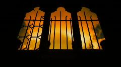 Derelict church windows Stock Footage