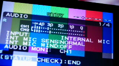 HD720p Video monitor with color bars and menu. Standby to Record. VU Meter Stock Footage