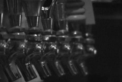 Beer Taps and Serving Glasses Stock Footage
