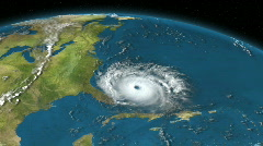 Atlantic Hurricane Satellite Simulation Animation Stock Footage