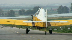 Agricultural aircraft take off Stock Footage