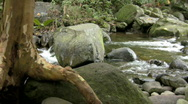 Stock Video Footage of A gentle river amd the mighty rock.