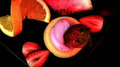 Fruit - shortcake and yogurt  Stock Footage