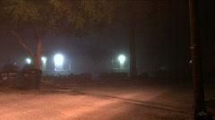 Foggy Night Parking Lot Stock Footage