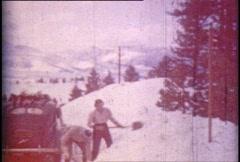 Vintage Shoveling Snow 01 Stock Footage